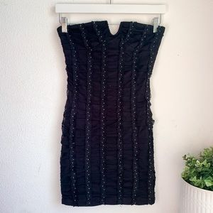 Strapless notch beaded mini dress